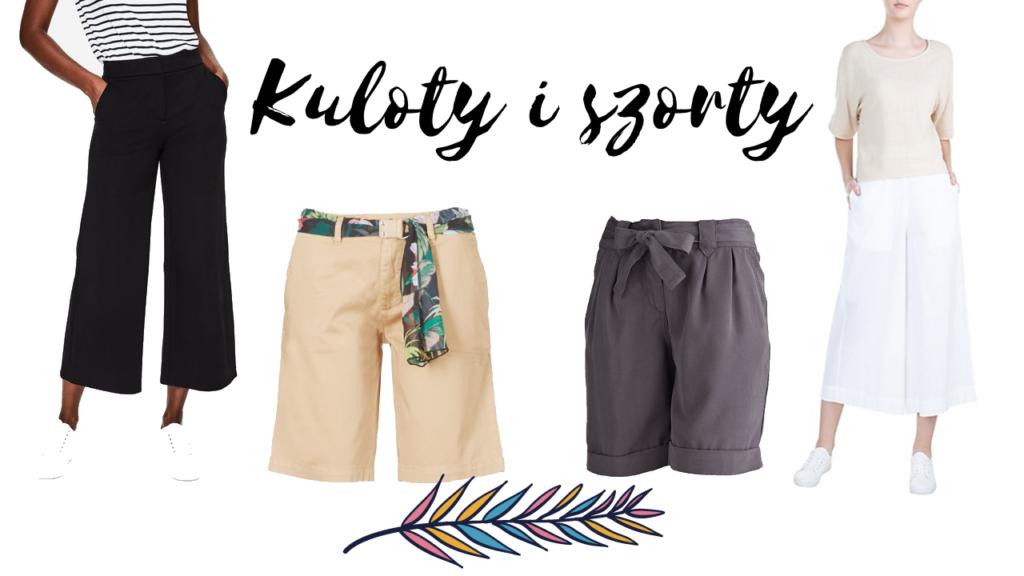 ubraniami dla kobiet, kuloty culottes i spodenki do kolan