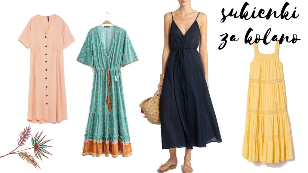 sukienki midi na lato kolaż zdjęć