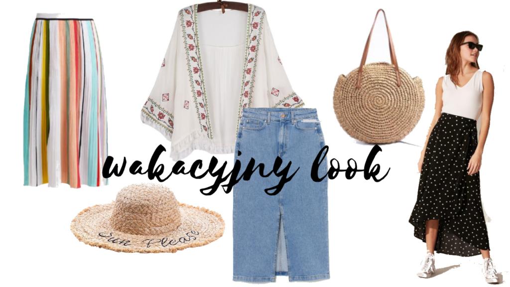 kolaż z letnimi ubraniami dla kobiet spódnica, kapelusz, boho narzutka, torebka z rafii