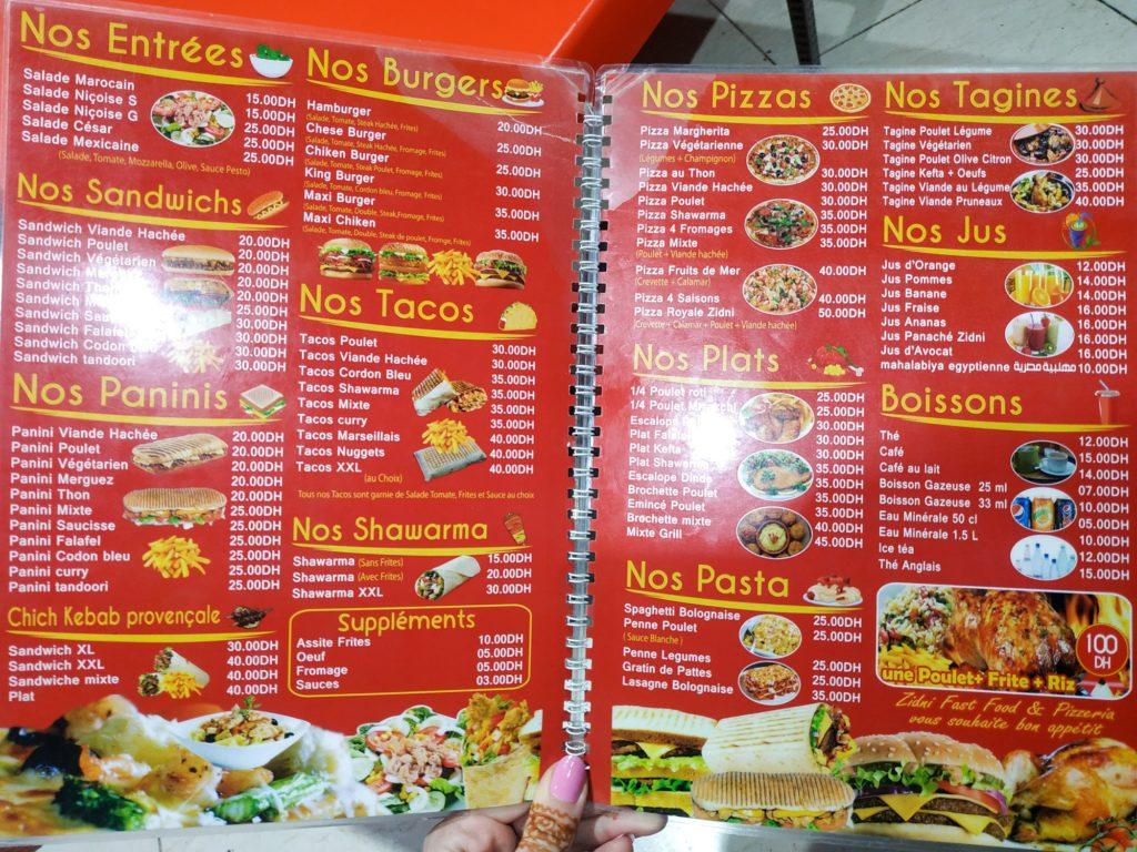 menu restauracji w Maroku